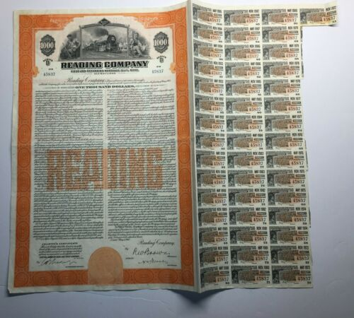 READING COMPANY (READING LINES) SERIES D BOND, 1945, COUPONS ATTACHED