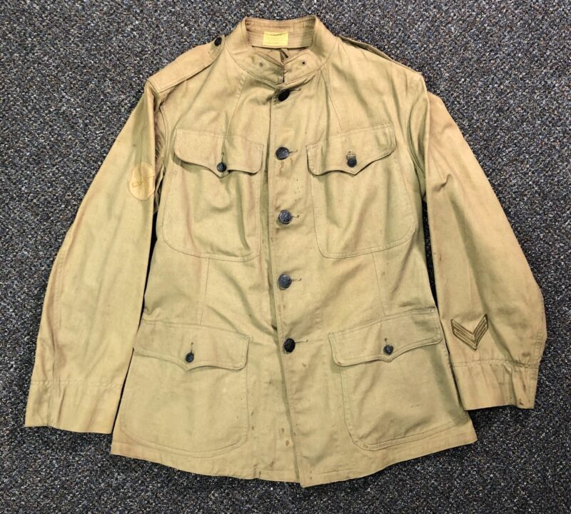 Vintage WWI US ARMY Military Tunic Uniform Khaki Jacket/ Coat w/ Patches and Pin