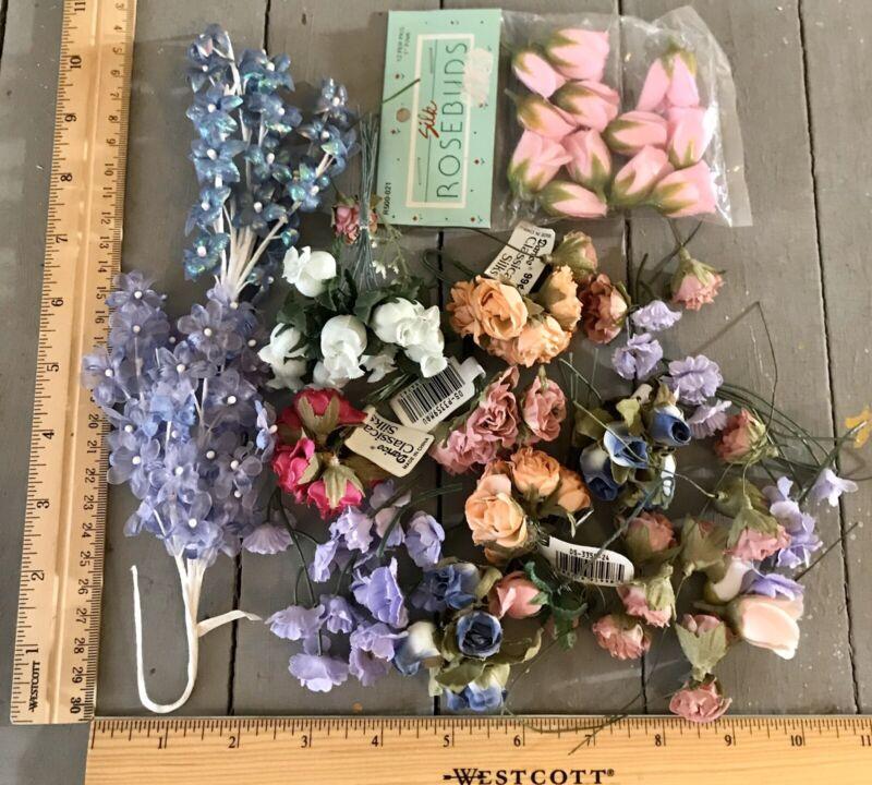 Huge Mix Craft lot Vtg Mini Silk Flower-Picks Rose Bunch Carnation-Multicolored