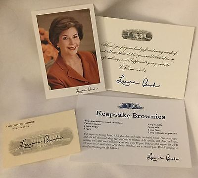 WHITE HOUSE LAURA BUSH CARD X3 THANK U GIFT +  RECIPE + SIGNED PHOTO = 4 pieces