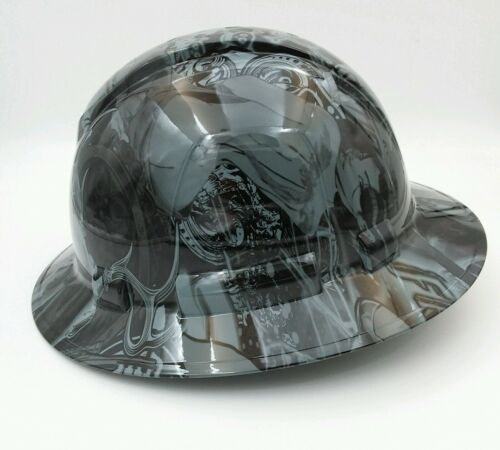 FULL BRIM Hard Hat custom hydro dipped , OSHA approved BAD BONES CLUB GREY !! 1