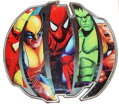 MARVEL COMICS HEROES UNDER GLASS BELT BUCKLE IRON MAN THOR SPIDERMAN ETC 2010 ()