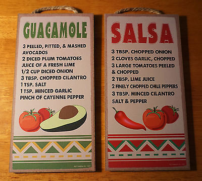 Guacamole Salsa Recipes Kitchen Sign Set Mexican Cantina Southwestern Home Decor