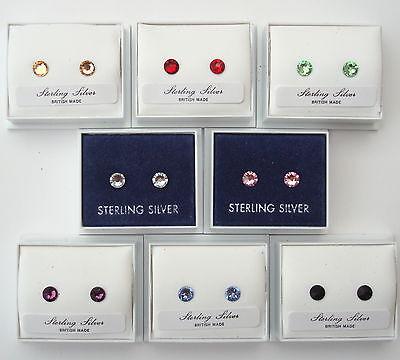 PAIR STERLING 925 SILVER SWAROVSKI ELEMENTS CRYSTAL STUD EARRINGS +SCROLLS BOX