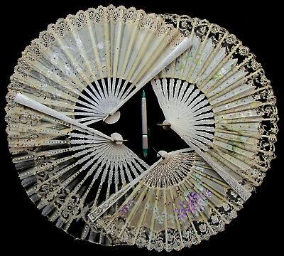 4x Antique Victorian Silk & Lace Fan Eventail Abanico Ventaglio Fächer ca. 1900, usado segunda mano  Embacar hacia Argentina