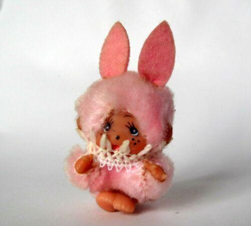 "Rare Adorable Vintage Monchhichi Monchichi  3 cm - 1"" ~ Pink Furry Rabbit"