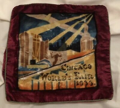 Chicago World's Fair A Century Of Progress Souvenir Velvet  Pillow Case Cover