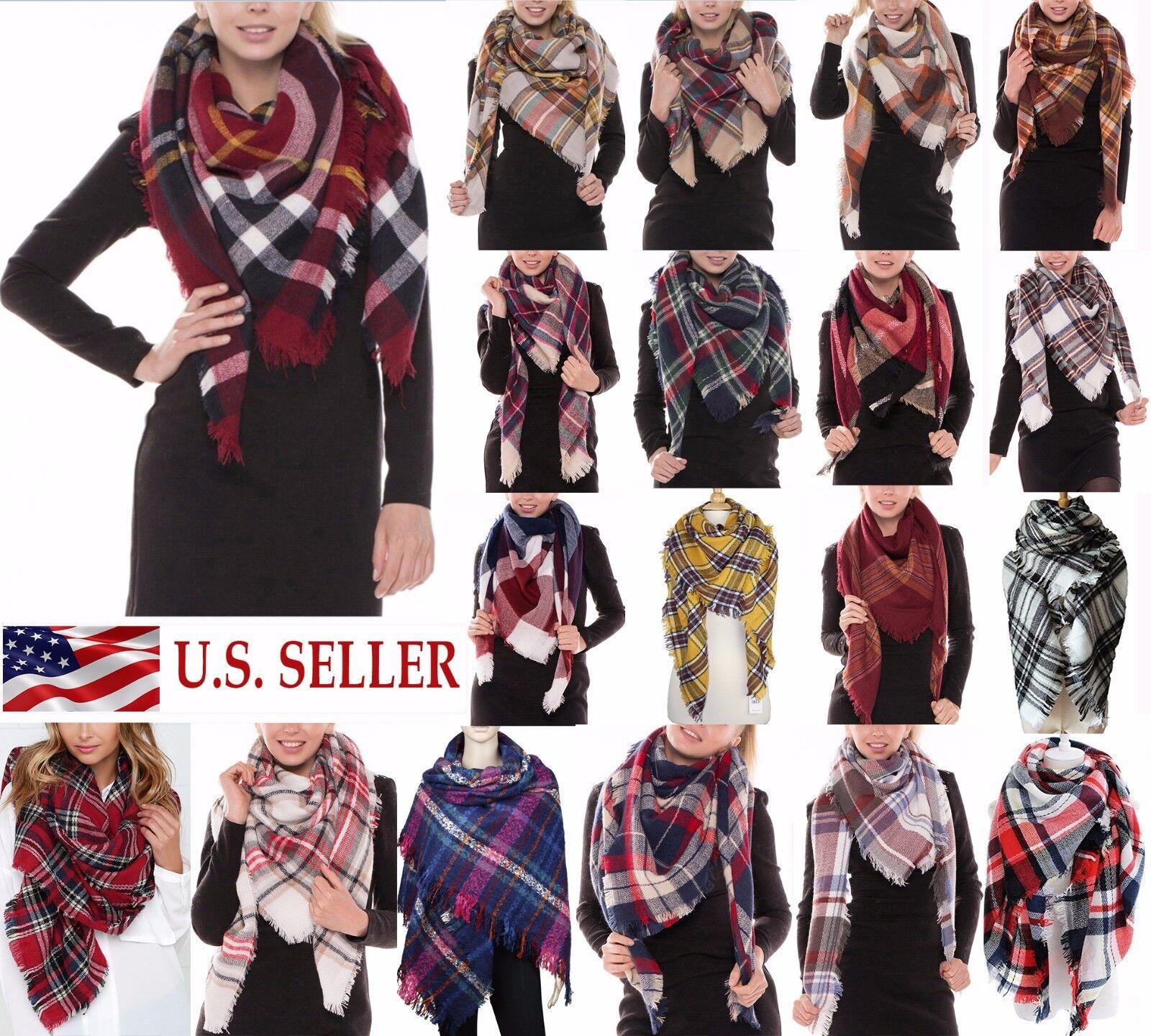 Scarf - Womens Oversized Tartan Plaid Blanket Scarf Large Checked Wrap Shawl Winter Warm