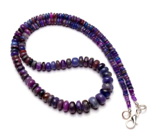"""Natural Gem Sugilite Necklace 3 to 8mm Size Smooth Rondelle Beads 17.5"""""""