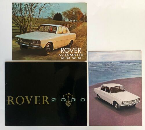 Lot of 3 1960s Rover 2000 Brochures Color Photos Spcefications Vintage Car