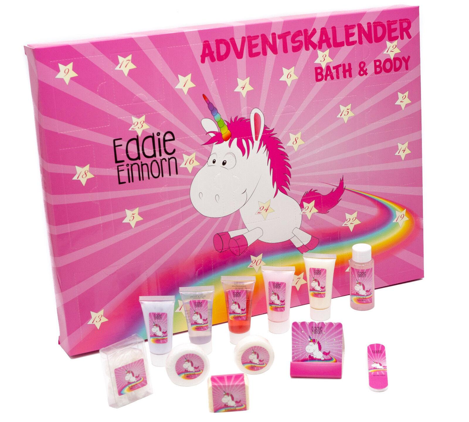 Original Eddie Einhorn Adventskalender Unicorn Wellnes Kalender Pflegeprodukte
