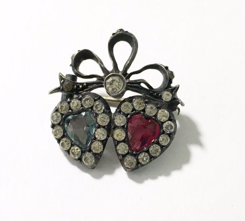 Antique Victorian Silver Paste Double Heart Pin