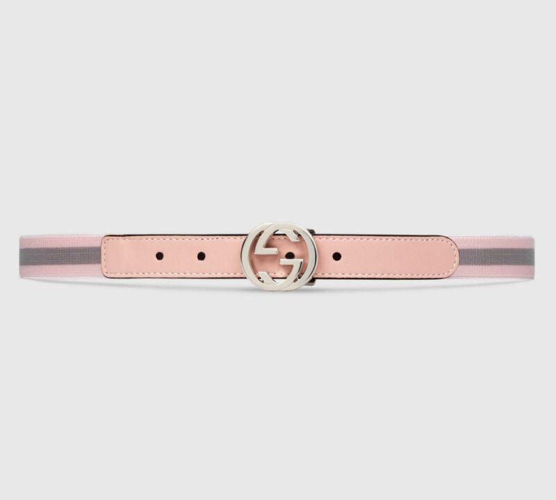 NWT NEW Gucci girls boys GG web stripe pink S M 258155