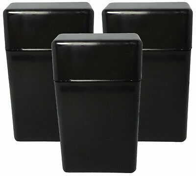 3 Pack Black Flip Top Hinged Lid Sectioned Cigarette Case for 100