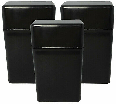 3 Pack Black Flip Top Hinged Lid Sectioned Cigarette Case for King Size 2606 Black Flip Top Lids