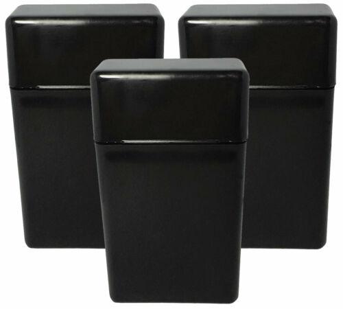 3 Pack Black Flip Top Hinged Lid Sectioned Cigarette Case for 100