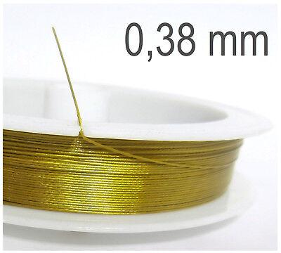 60 m Draht 0,38 mm Stahlseide gold ummantelt überzogen Schmuckdraht Tiger Tail