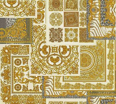 Versace Decoupage Cream Gold Wallpaper Baroque Ornament Metallic Paste Wall