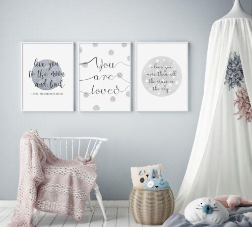 Grey Stars & Spots (Set of 3) - Nursery Prints - Baby Room - Wall Art - Kids