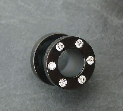Flesh Tunnel mit Kristalle BLACKLINE Ohrring Piercing Ohrpiercing Fleshtunnel