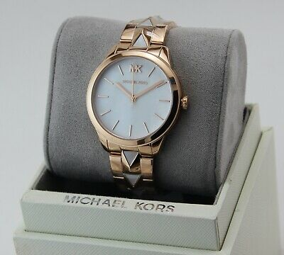 NEW AUTHENTIC MICHAEL KORS MERCER SLIM RUNWAY ROSE GOLD MOP WOMEN MK6671 WATCH