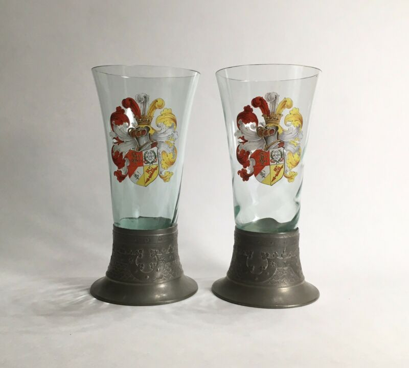 Antique Theresienthal ? Enamed Glass Beakers w/ Coat of Arms, 19th C Historicism