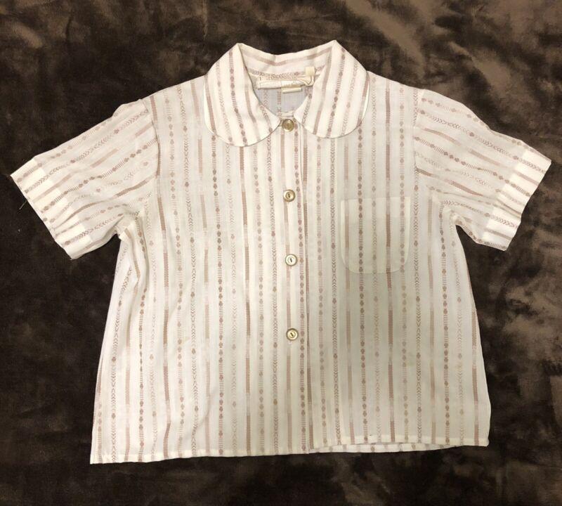 Vintage Girl Scout Brownies Blouse Button Up Shirt 60's 70's Uniform Size 7 1/2
