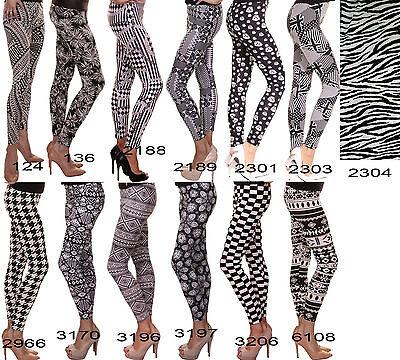 Weiße Streifen Leggings (Damen Slim Leggings Schwarz Weiß BLACK WHITE Streifen Leggins SKINNY Hose Röhre)