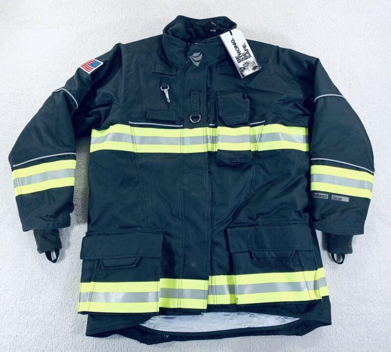 INNOTEX Energy Gray Turnout Gear Fire Fighting Jacket Coat Mens 48-4-R Black