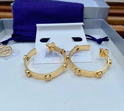 NWT Tory Burch Gold Milgrain Logo Hoop Earrings