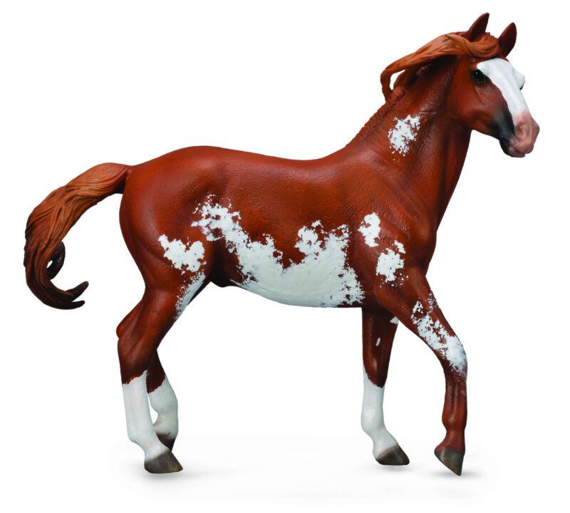 CollectA 89806 Chestnut Overo Pinto Mustang Stallion Model Horse 1:12 Scale -NIB