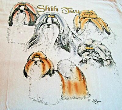 """Shih Tzu T-shirt  """" White """" XL ( 46 ~ 48 )"""