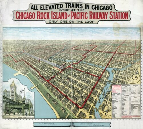 1897 ROCK ISLAND CHICAGO Railway station ILLINOIS MAP20