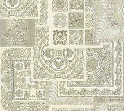 Versace Decoupage White Silver Wallpaper Baroque Ornament Metallic Paste Wall
