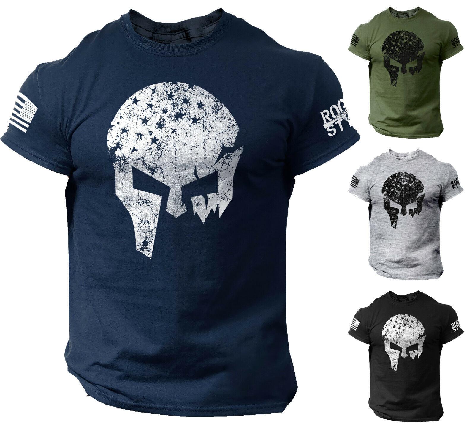 Skull Warrior Men's T Shirt Vikings American Flag Style US Veteran Tee Clothing, Shoes & Accessories