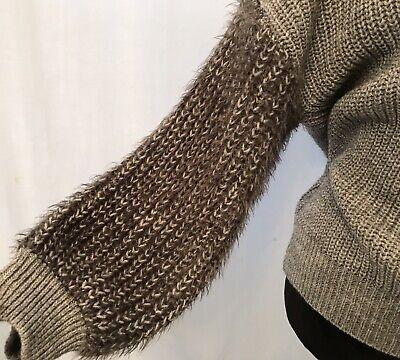 ANTHROPOLOGIE Berretti Chunky Knit Sweater Gray Silver Alpaca Wool Italy Sz M
