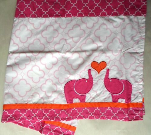 Jonathan Adler Pink Elephant Window Valance 60 x 17 Hearts Embroidered Orange