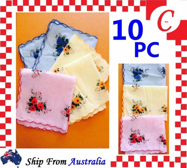 10PC Women Ladies HANDKERCHIEFS Cotton Pocket Square Hanky Handkerchief New Bulk
