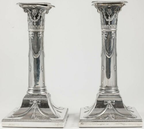 ANTIQUE STERLING SILVER CORINTHIAN COLUMN CANDLESTICKS Thom Bradbury 1895