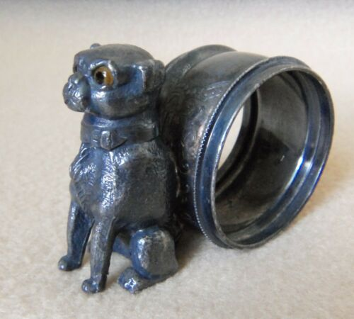 Rare Antique Victorian Silver Plate Napkin Ring Pug Dog w/Glass Eyes Nice Patina