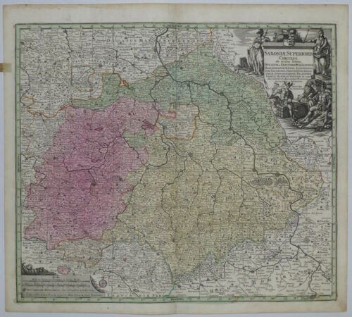 1745 Genuine Antique map Germany. Saxonia Superioris. Ornate. Color. G.M.Seutter