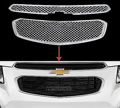 2015 Chevy Cruze Chrome Grille Overlay 2 pc Front Full Grill Inserts Trim (Chrome Plated Mesh Grille Grill)