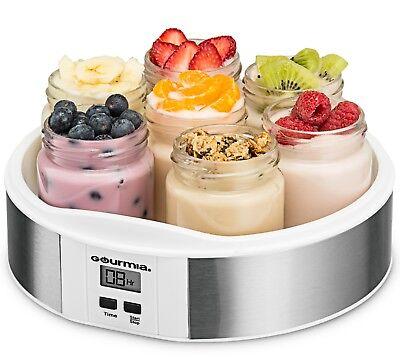 Gourmia GYM1620 Digital Yogurt Maker, 7 Glass Jars, Customize Flavor & Thickness