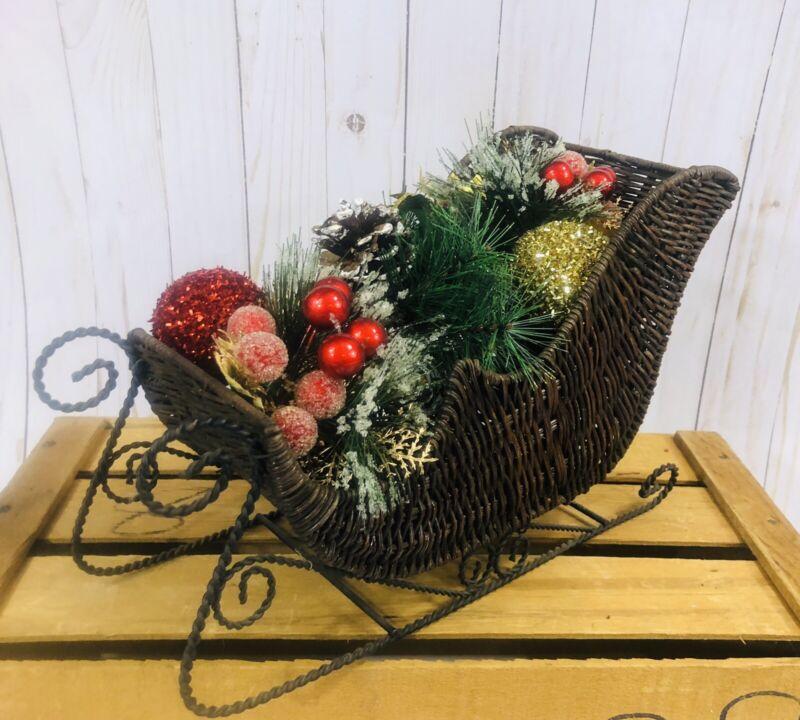 Wicker Holiday Christmas Santa Sleigh Decor Basket