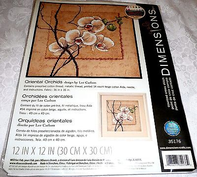 "Dimensions Counted Cross Stitch Kit ORIENTAL ORCHIDS 12"" x 12"""