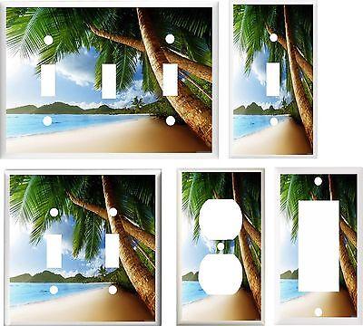 TROPICAL PALM TREE PARADISE BEACH 2  IMAGE  LIGHT SWITCH COVER PLATE U PICK SIZE