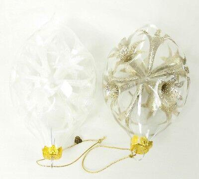 Vintage Clear Glass Glitter Design Bulb Set of 2 Christmas Ornament Decoration (Clear Bulb Ornaments)