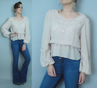 Vintage 1970-80s Bohemian festival Poet sleeve eyelet Embroidered Blouse
