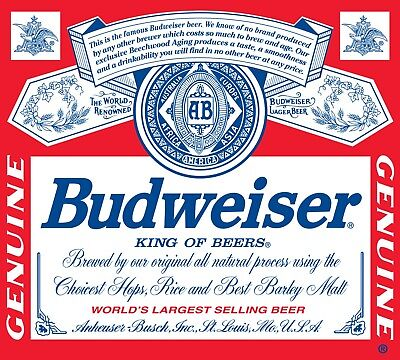 Budweiser Beer Label Logo Color Die Cut Vinyl Decal Sticker - You Choose Size