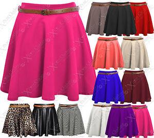 NEW-LADIES-SKATER-SKIRT-BELTED-WOMENS-MINI-PARTY-PLAIN-FLARED-SKIRTS-WORK-DRESS
